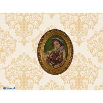 Vintage victorian style cross stitch embroidery in a vintage wood oval gold ornate frame.